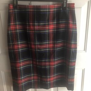 J Crew Plaid Pencil Skirt size 6 NWT